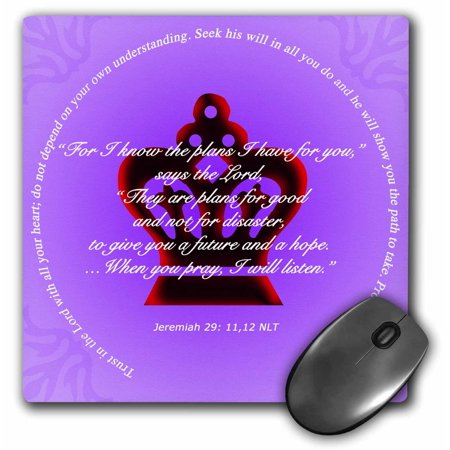3dRose Crimson Crown on lavender background with bible verses from Jerimiah  Proverbs, Mouse Pad, 8 by 8 inches