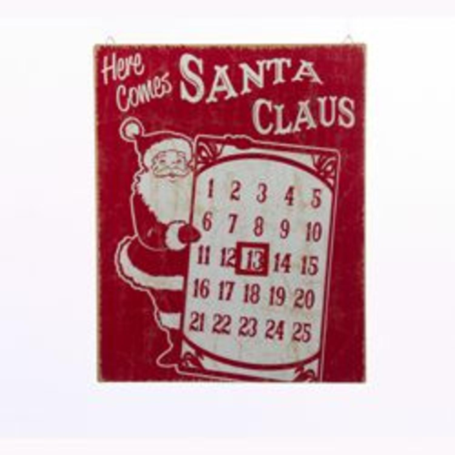 "15"" Magnetic Countdown to Christmas Santa Claus Sign"