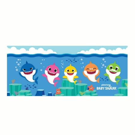 Baby Shark Body Pillow, Kids Bedding, 20x48, Fintistic Family