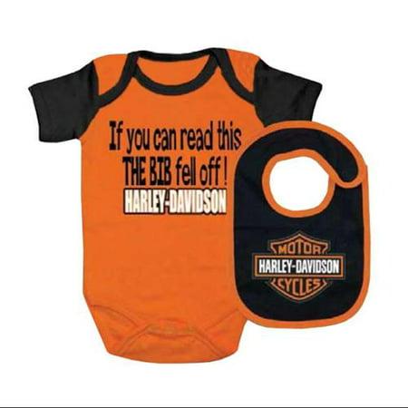 Harley Davidson Baby Boys Interlock B Creeper   Bib Set  Orange 3060413  Harley Davidson