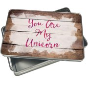 Christmas Cookie Tin You Are My Unicorn Valentine's Day Pink and Purple Watercolor for Gift Giving Empty Candy Snack Pastry Treat Swap Box Cerebrate a Holiday