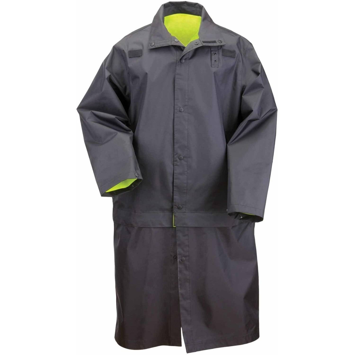 5.11 Tactical Men Long Reversible High Visibility Rain Coat, Ansi Class 3, Black by 5.11 Tactical
