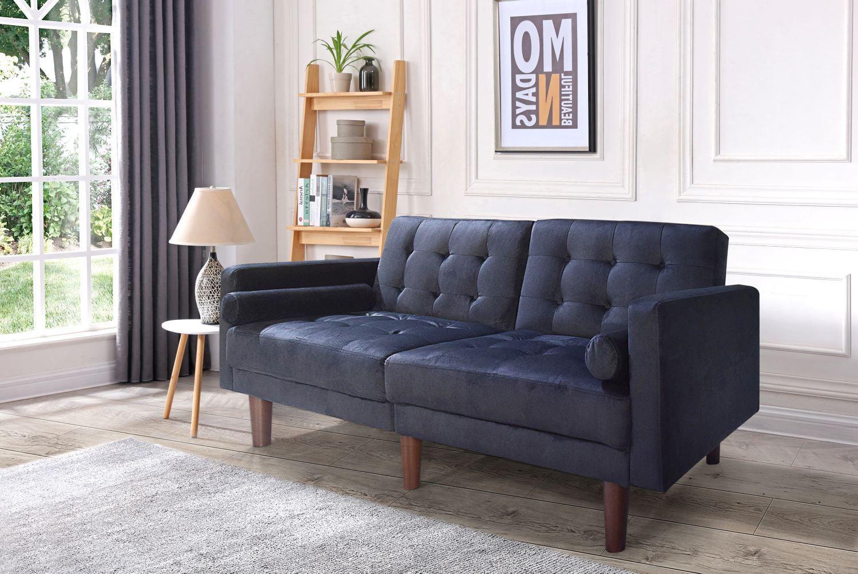 Modern Upholstery Futon Sofa Bed,Folding Futon Square Arm Design