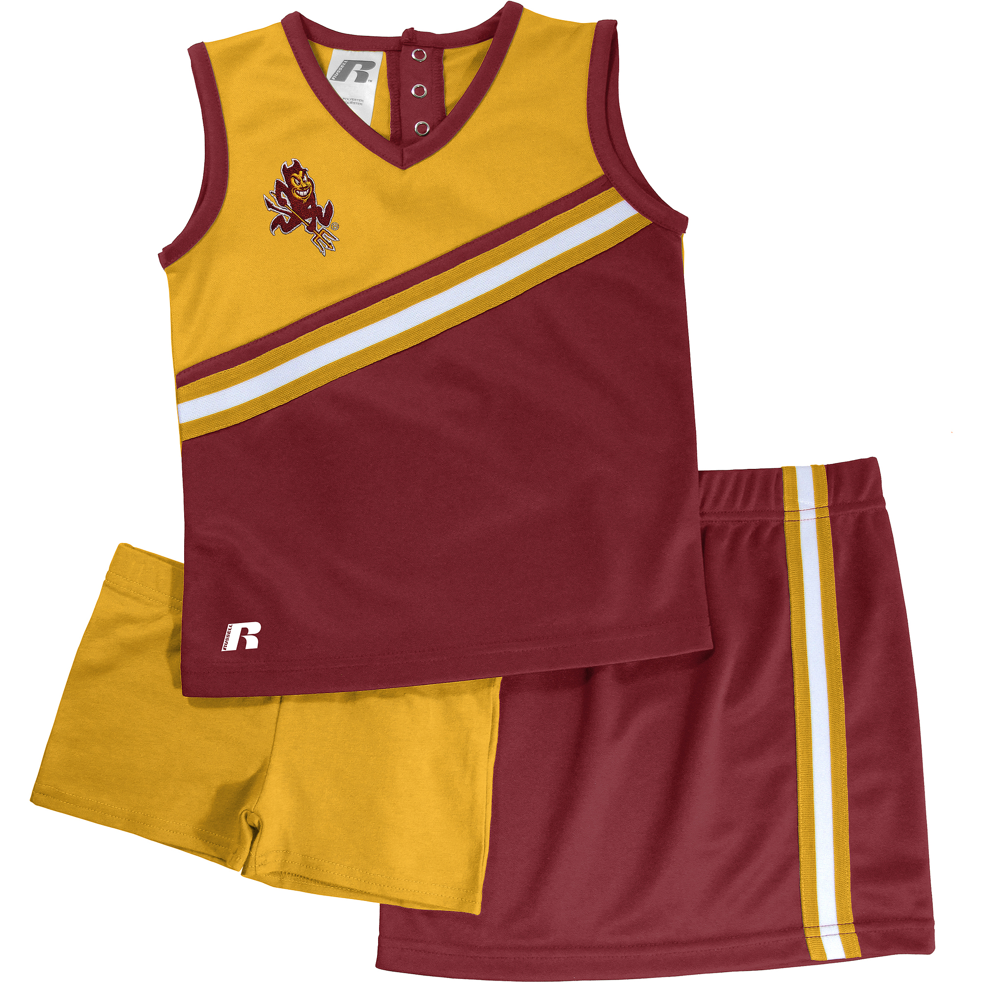 Russell NCAA Arizona State Sun Devils, Toddler Girls 3 pc Cheer Set