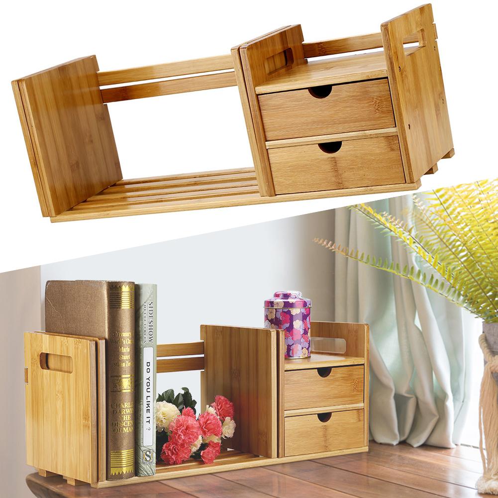 SoNew Desktop Book Rack Bamboo Wood Extendable Desk Tabletop Book Rack Bookshelves Bookcase Organizer with 2... by