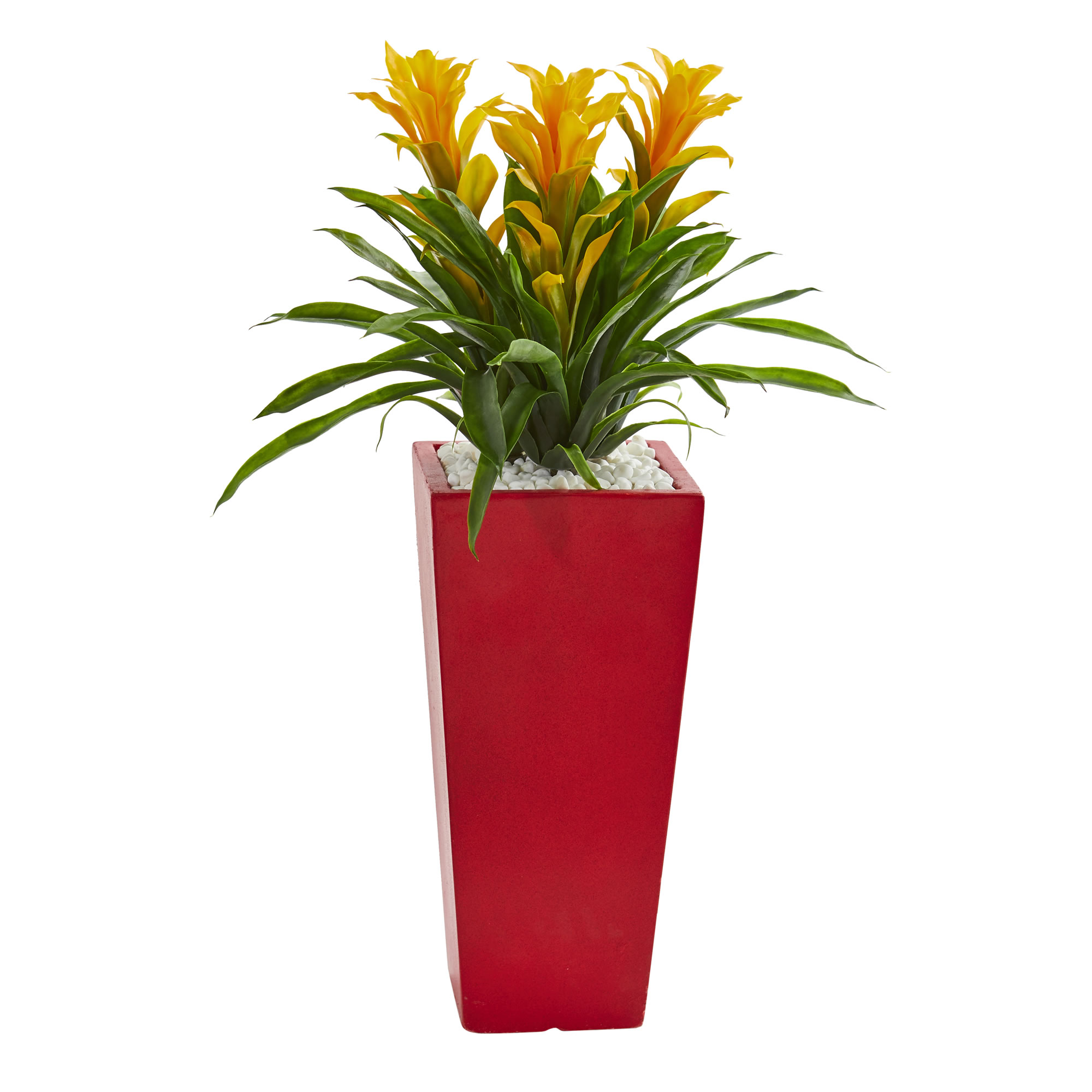 Nearly Natural Triple Bromeliad Artificial Plant in Red Planter