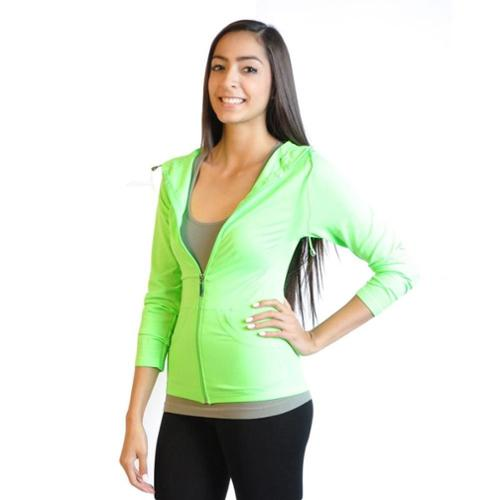Women's Long Sleeve Full-Zip Hooded Jacket Hoodie (One Size Fits All) - Neon Green