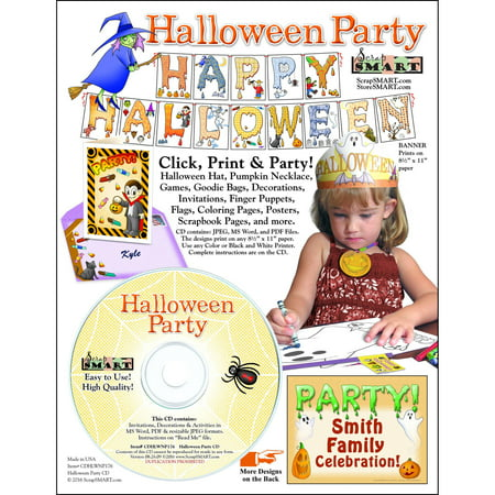 ScrapSMART Halloween Party: Decorations, Crafts, Scrapbook and Coloring Pages CD-ROM - Quick Halloween Crafts