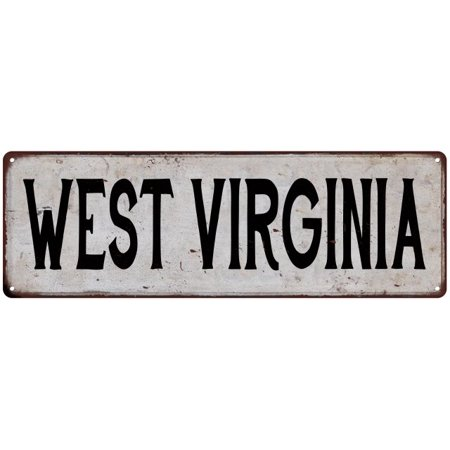 WEST VIRGINIA Vintage Look Rustic Metal Sign Chic City State Retro - Old West Sign