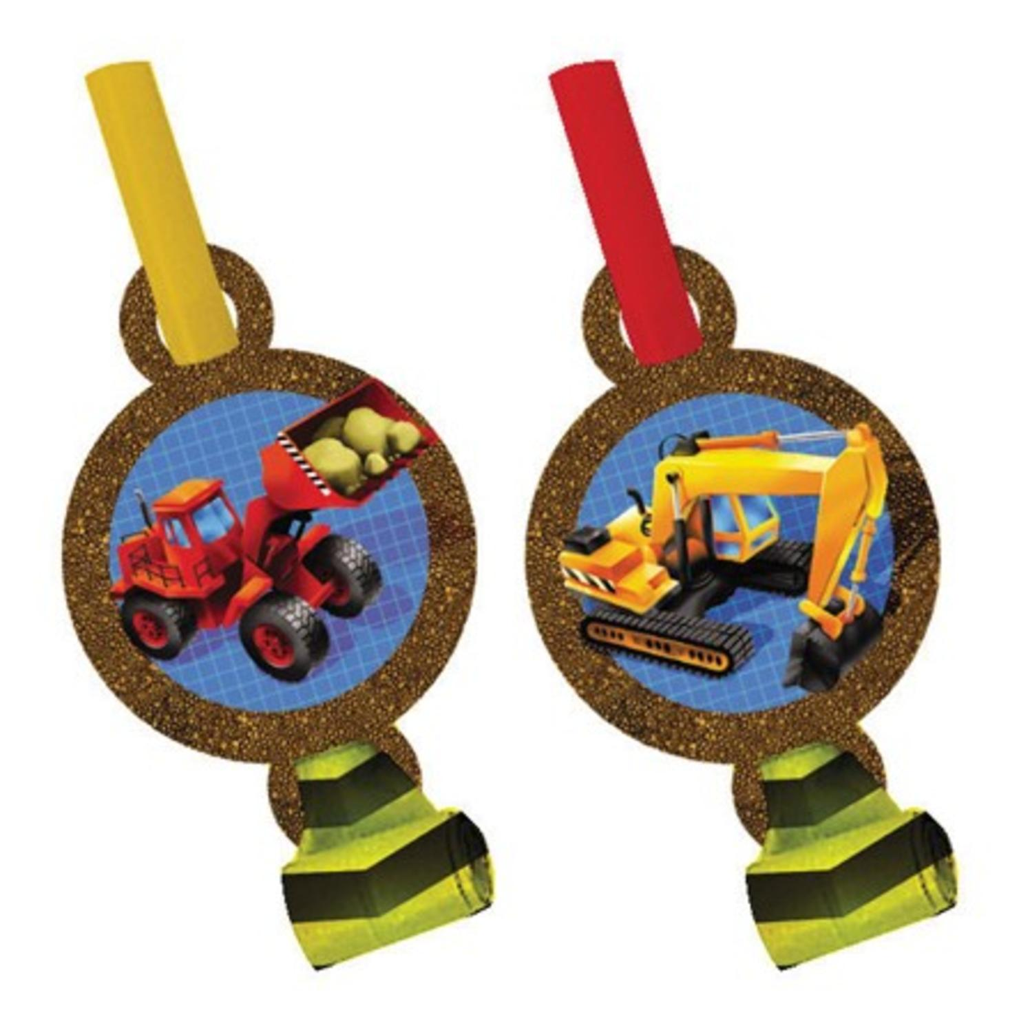 Club Pack of 96 Red and Yellow Under Construction Blowout Noisemaker Party Favors
