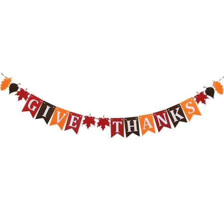 Thanksgiving Nonwoven Banner Home Decoration Party Give Thanks Bunting (Give Thanks)