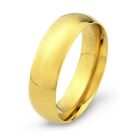 Gold Plated Stainless Steel Polished Traditional Wedding Ring (6mm)