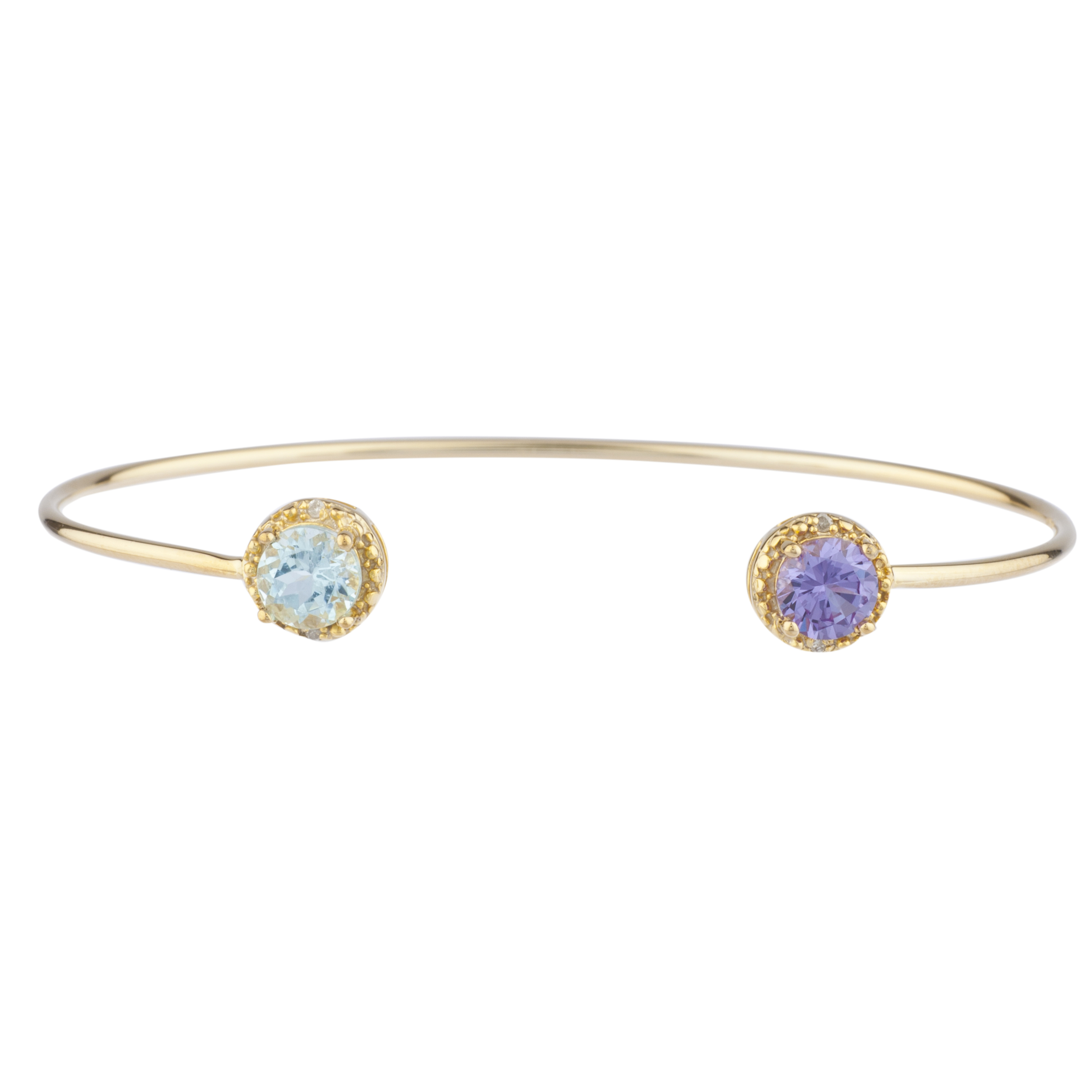 Genuine Aquamarine & Amethyst Diamond Bangle Round Bracelet 14Kt Yellow Gold Plated Over .925 Sterling Silver by Elizabeth Jewelry Inc
