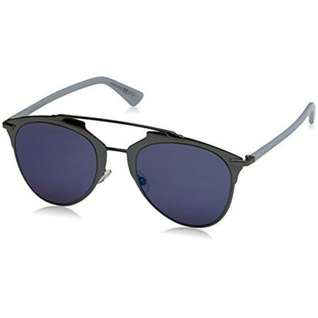 Dior TUY Dark Ruthenium / Blue Reflected Round Sunglasses Lens Category 3 (Dior Reflected Sunglasses)