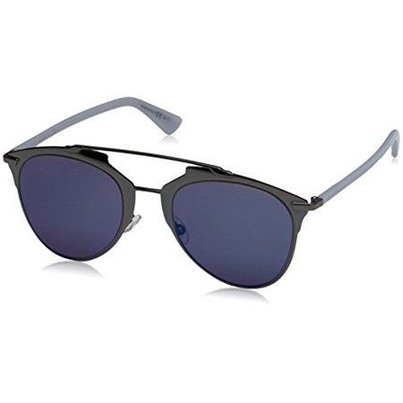 Dior TUY Dark Ruthenium / Blue Reflected Round Sunglasses Lens Category 3 (Sun Glasses Dior)