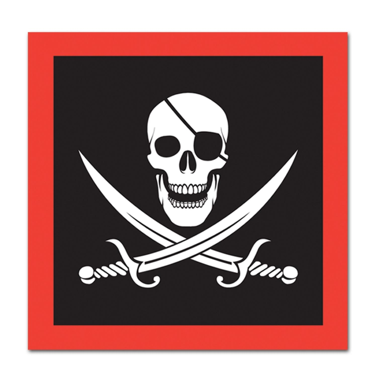Club Pack of 192 Red and Black Pirate Flag Disposable 2 -Ply Luncheon Party Napkins