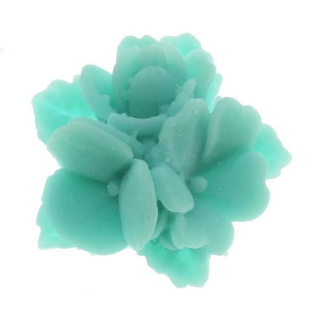 Lucite Flower Cabochons Matte Dark Turquoise Posies 16mm/4