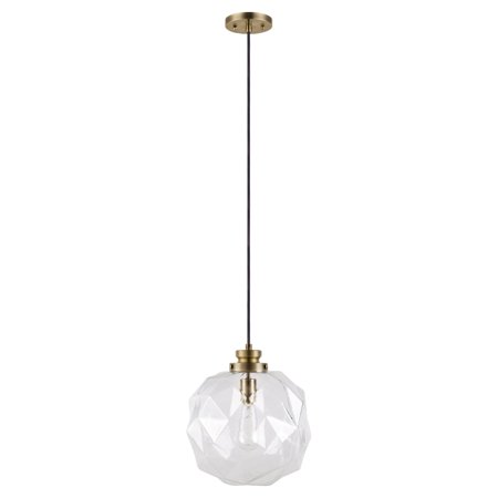 Cresswell Lighting Clear Glass Faceted Orb Pendant Light