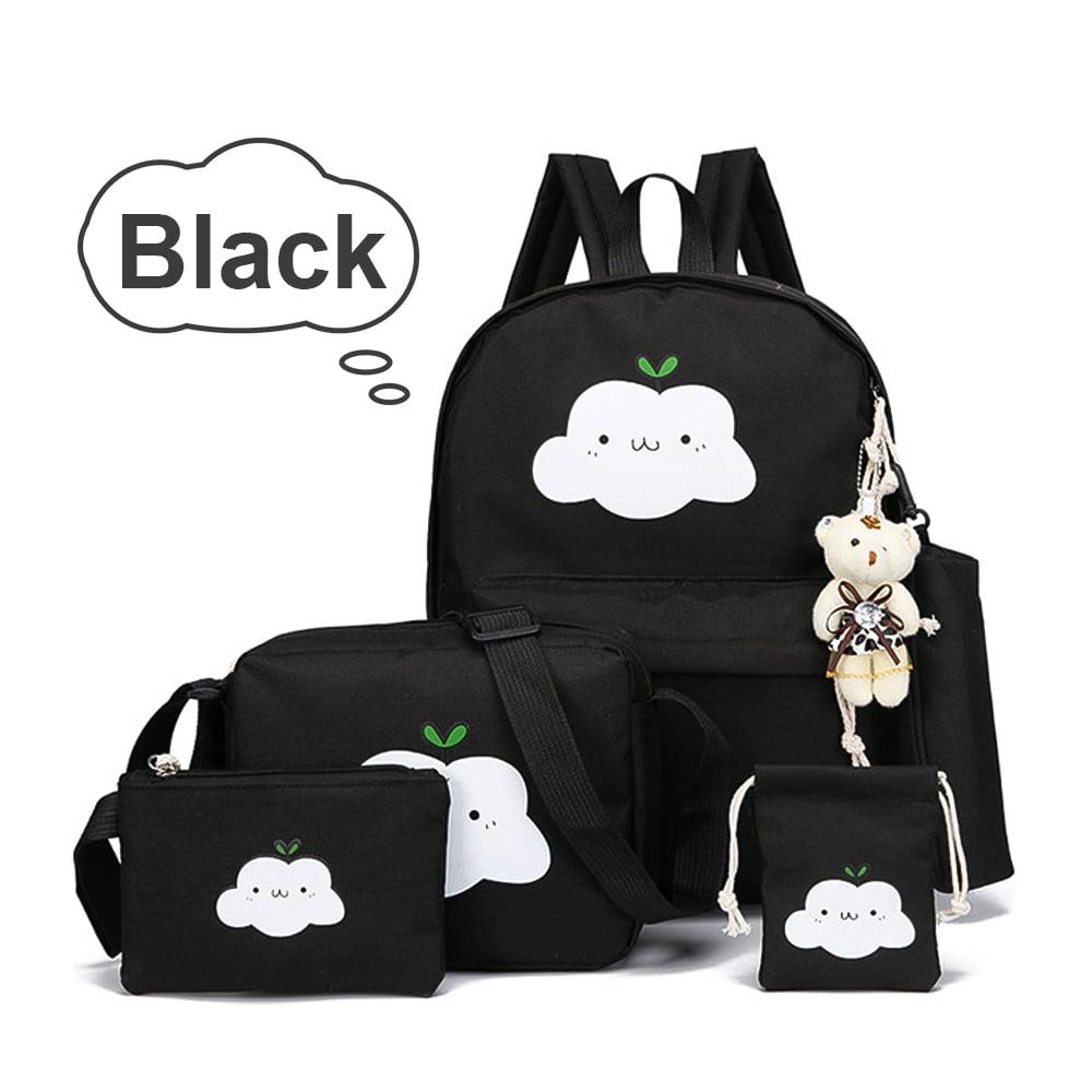 5Pcs Set Canvas Rucksack Set mit Shouder Bags Kleine Taschen mit verstellbarem