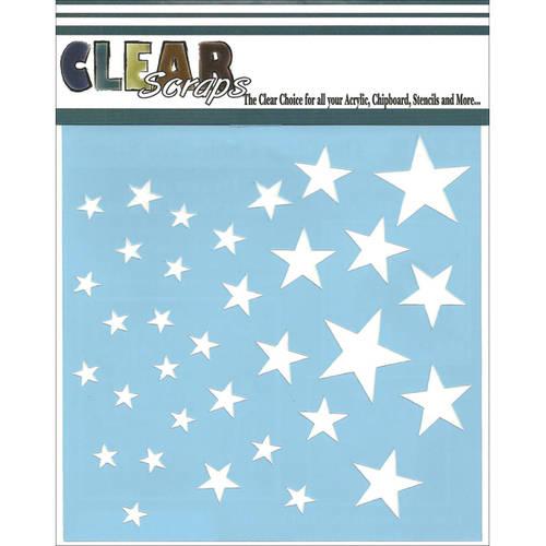 """Clear Scraps Stencils, 12"""" x 12"""", Stars"""