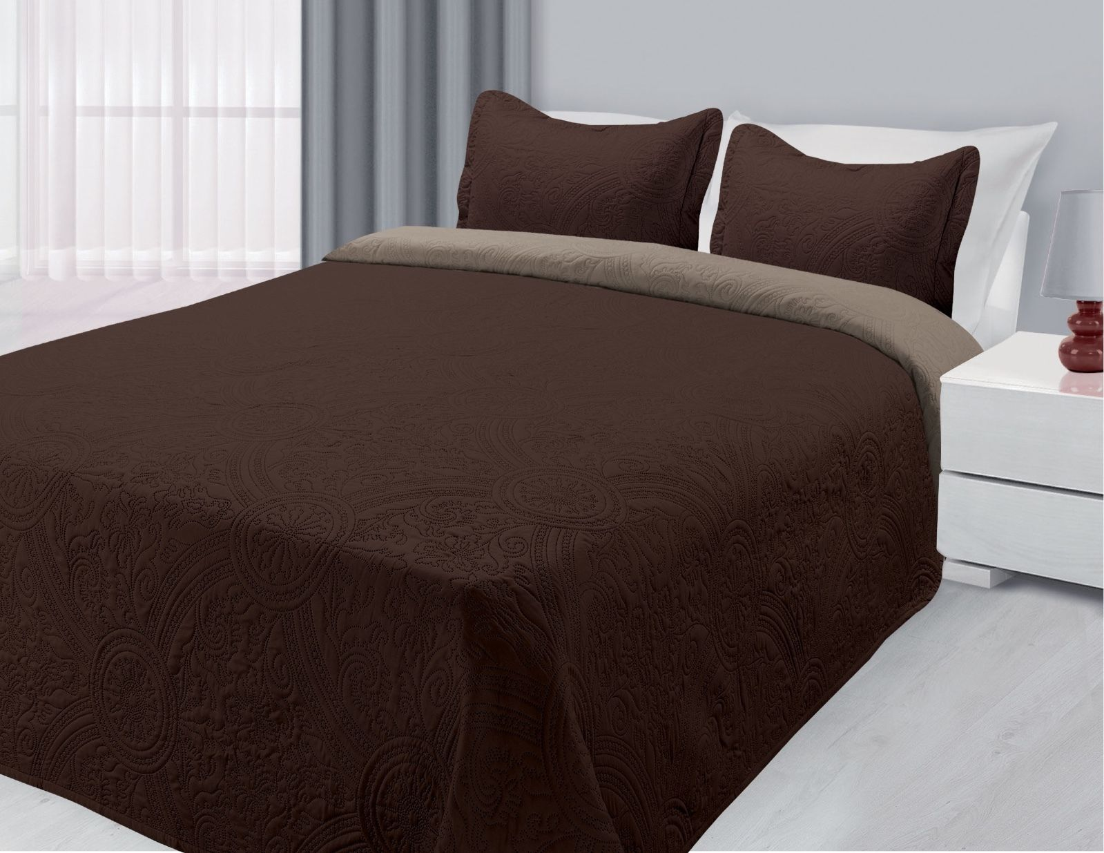 3-Piece Reversible Quilted Bedspread Coverlet Brown & Taupe King Size by