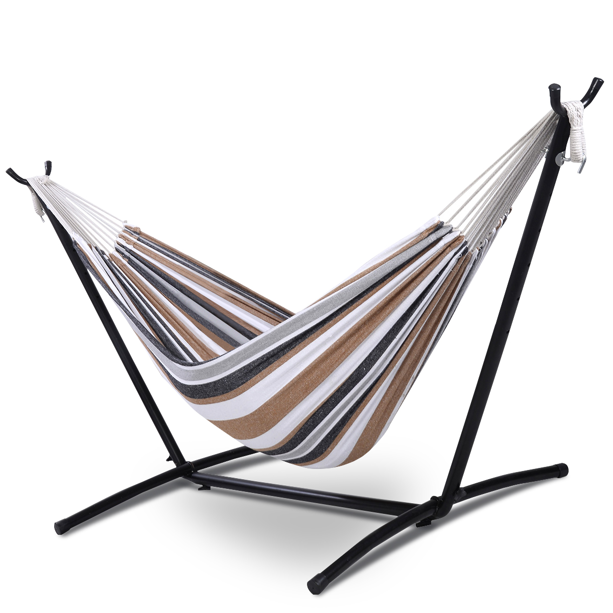Costway Double Hammock with Space Saving Steel Stand Includes Portable Carry Bag by Costway