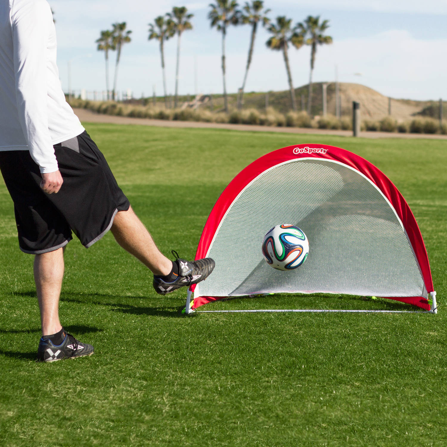 77dd07da7 GoSports 4' Foldable Pop-Up Soccer Goal Set of 2 w/ 6 Training Cones and  Portable Carrying Case - Walmart.com