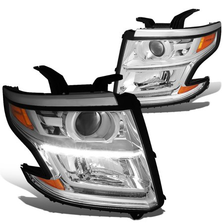 For 2015 to 2017 Chevy Tahoe / Suburban Pair of LED DRL Strip Projector Headlight Chrome Housing Amber Corner Headlamp 16 Left+Right Suburban Headlight Trim