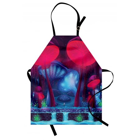 Mushroom Apron Magic Mushrooms with Vibrant Neon Design Graphic Image Enchanted Forest Theme Print, Unisex Kitchen Bib Apron with Adjustable Neck for Cooking Baking Gardening, Blue Red, by - Enchanted Forest Theme Party