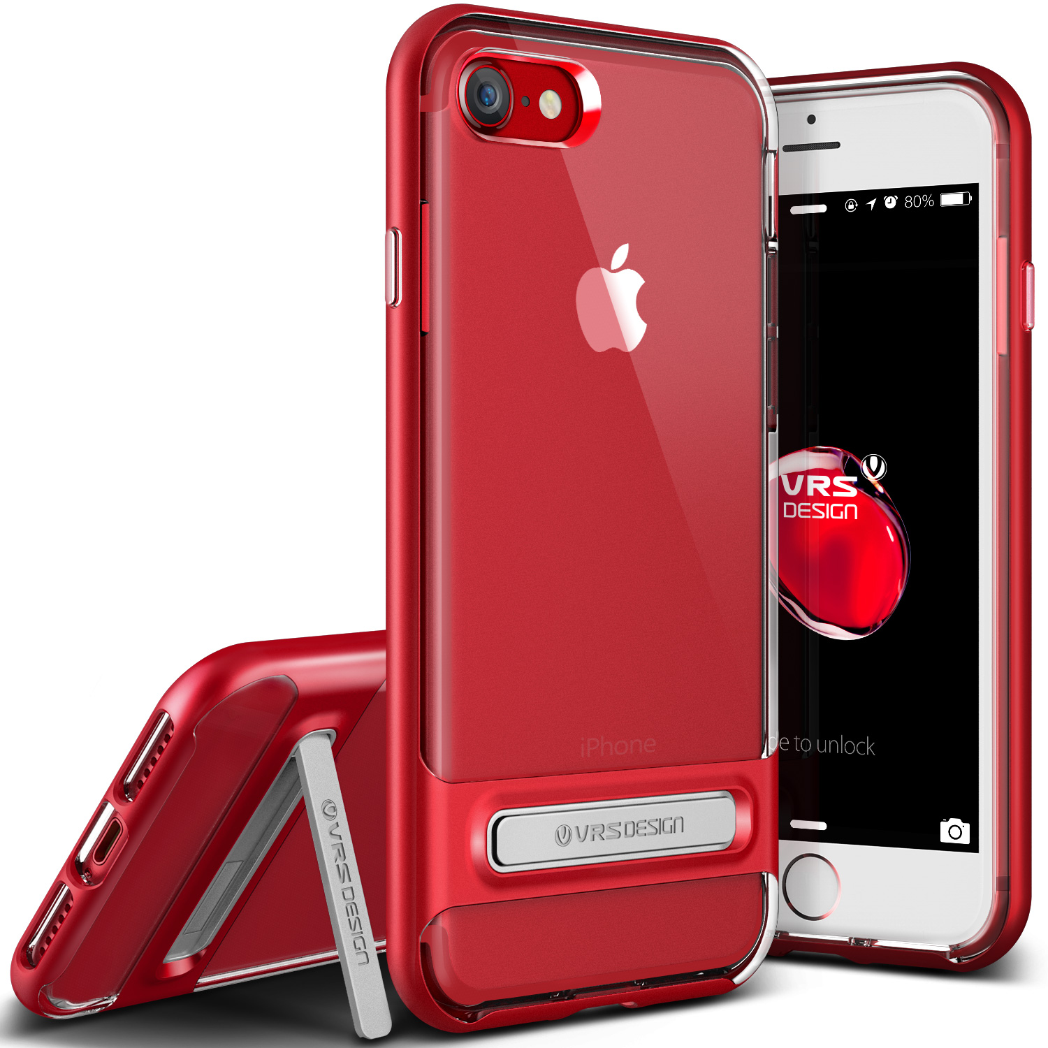 iPhone 7 Case, VRS Design [Crystal Bumper] Clear Slim TPU Cover with Rugged Protection - Red