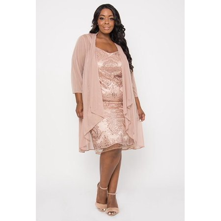 R&M Richards Short Plus Size Mother of the Bride Dress