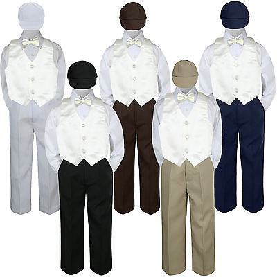 3T 5pc Baby Toddler Boys Champagne Vest Bow Tie Brown Pants Hat Suit Outfits S-7