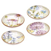 Certified International Hand-painted Herb Garden 8.5-inch Assorted Ceramic Soup/Pasta Bowls (Set of 4)