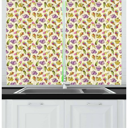 Ice Cream Curtains 2 Panels Set, Yummy Cupcakes Chocolate Party with Cherry Cones Fruit Sweet Kids Nursery Theme, Window Drapes for Living Room Bedroom, 55W X 39L Inches, Multicolor, by Ambesonne