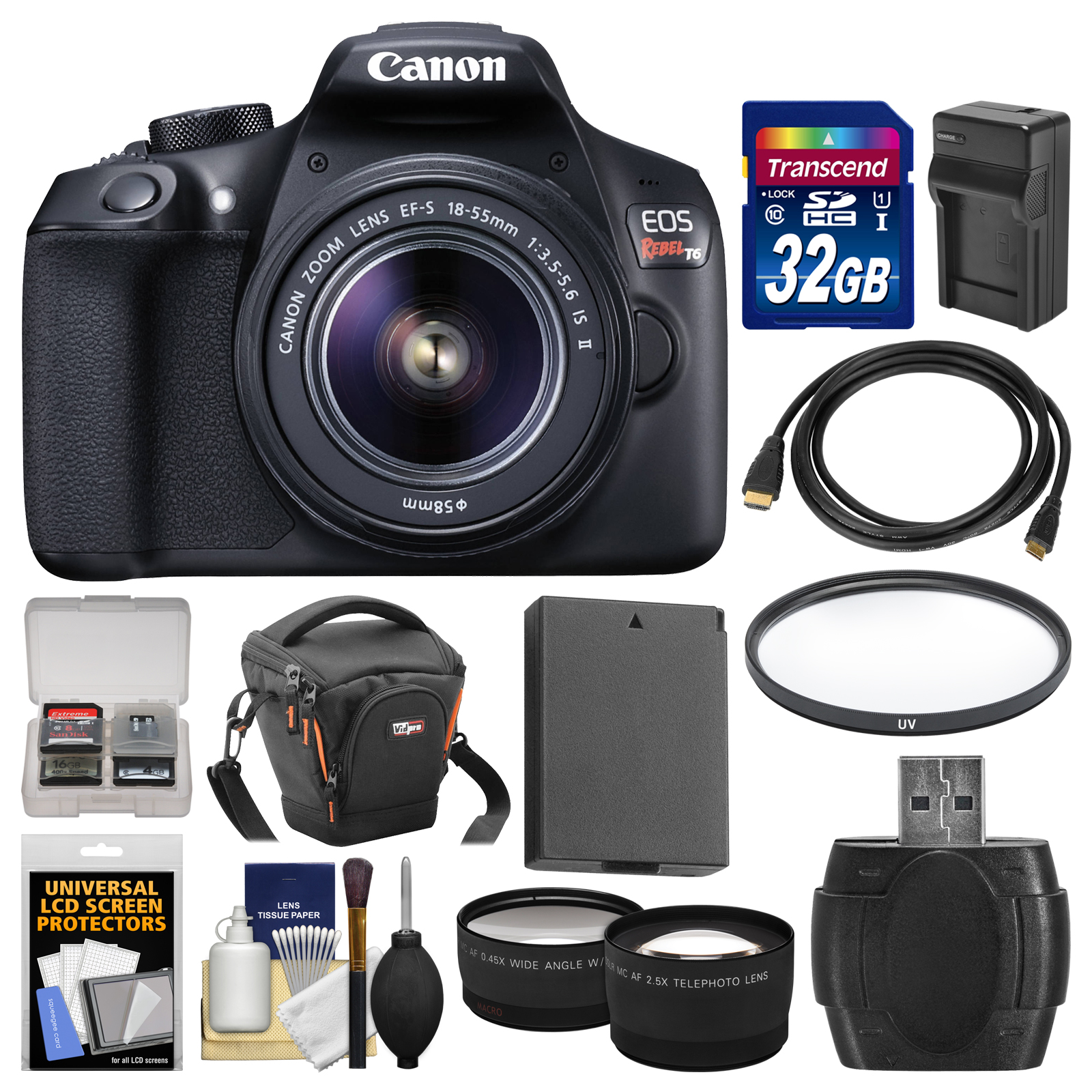 Canon EOS Rebel T6 Wi-Fi Digital SLR Camera & EF-S 18-55mm IS II Lens with 32GB Card + Case + Battery & Charger + Filter + Tele/Wide Lens Kit