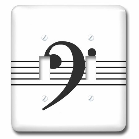 3dRose Bass clef F-clef on musical staves staff black and white music gift - Double Toggle Switch
