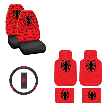 Spider man 2 Front Vinyl Floor Mats And 2 Rear Vinyl Floor Mats With 2 Seat Covers Plus Wheel Cover