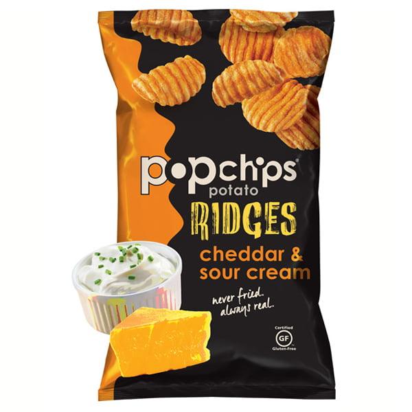 Popchips Ridges Cheddar ; Sour Cream Potato Chips 3.5 oz ...