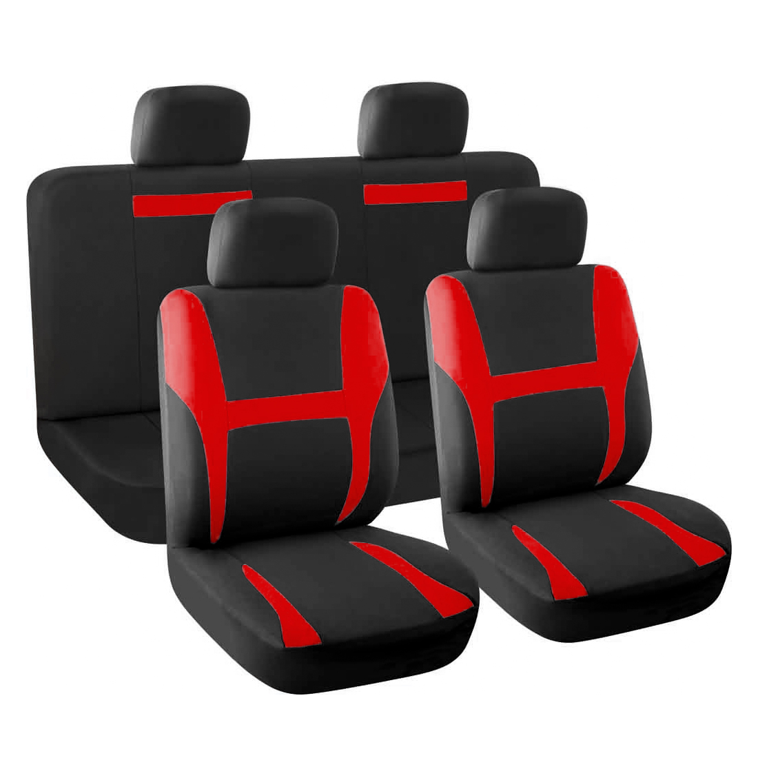New Car Seat Covers Full Set Red Black For Auto SUV W Head Rests
