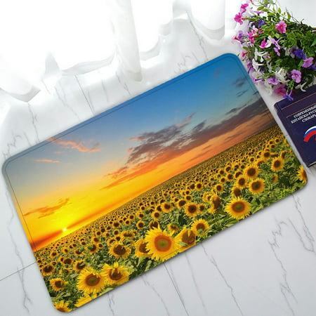 PHFZK Beautiful Sunset Scenery Doormat, Nature Art Sunflower Garden Sunflowers Landscape Doormat Outdoors/Indoor Doormat Home Floor Mats Rugs Size 30x18 inches - Garden Door Mat Art