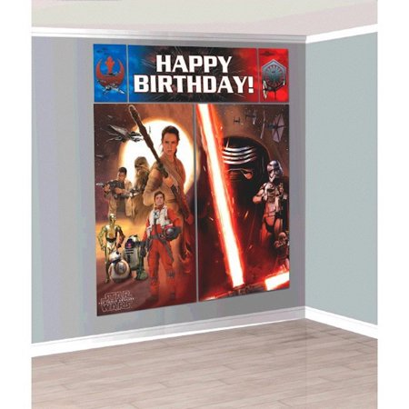 Star Wars The Force Awakens Scene Setter Wall Decorations Kit - Kids Birthday and Party Supplies DecorationEasy to use By Amscam - Star Wars Birthday Decorations