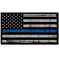 Thin Blue Line Police  Distressed American Flag Sticker Decal Ͼ– Blue Lives Matter