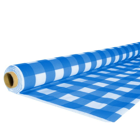 Exquisite 40 In X 100 Ft Blue Gingham Plastic Tablecloth Roll Blue