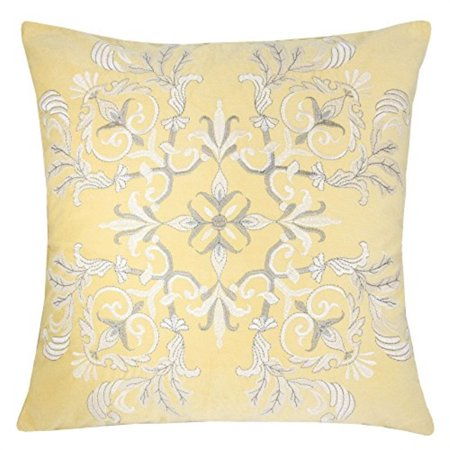 Homey Cozy Embroidery Yellow Velvet Throw Pillow Cover,Sunshine Series Blossom Floral Bright Spring Tropical Decorative Pillow
