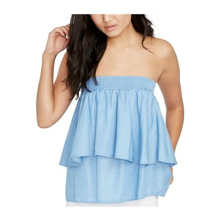 Rachel Roy Womens Tiered Knit Blouse lightwash XL - image 1 de 1