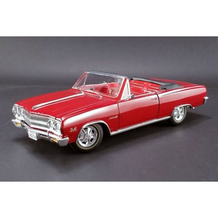 1965 Chevy Z16 (Malibu SS 396) Convertible, Red w/ Red Interior - Acme 1805306 - 1/18 Scale Diecast Model Toy Car 1965 Chevelle Malibu Convertible