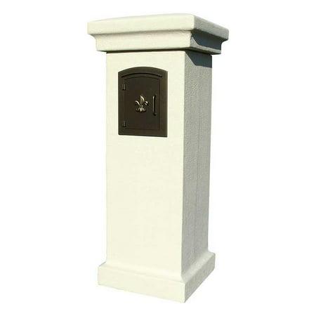 QualArc MAN-STUCOL-SS 48 in. Manchester Non-Locking Stucco Column Mailbox in Sandstone Color