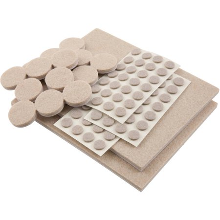 Waxman Consumer Group 4760095N Beige SoftTouch Felt Pads, Assorted Sizes, 102 Count ()