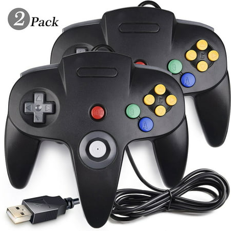 iNNEXT USB N64 Controller, 2 Pack Classic Retro N64 Wired USB PC Game pad Joystick, N64 Bit USB Wired Game Stick Joy pad Controller for Windows PC MAC Linux Raspberry Pi 3 Genesis (Windows Vista Service Pack 2 64 Bit)