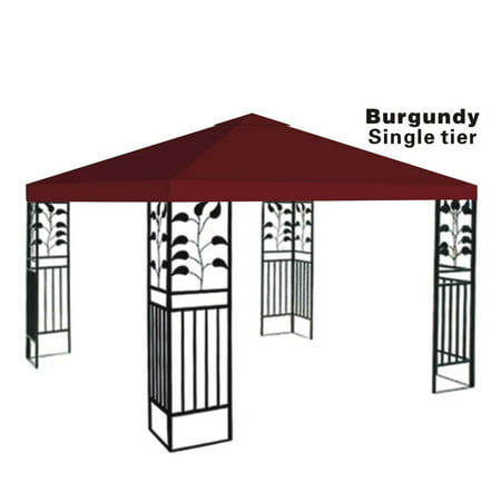 Gazebo Cover - 10x10' Replacement Canopy Top Patio Pavilion Gazebo Sunshade Polyester Cover-Single Tier